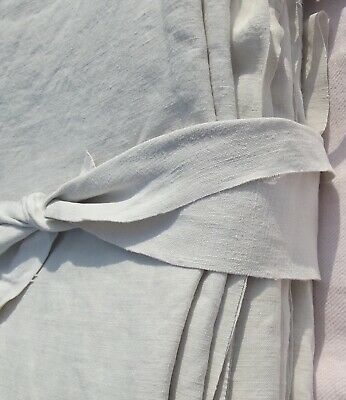 Pair Antique 19th Century French Provincial Linen Curtains Long oatmeal Drapes