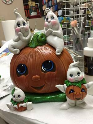 Ceramic Bisque Hand-Painted Cuddle Ghosts On Pumpkin With (2) Pumpkin Belly Ghos