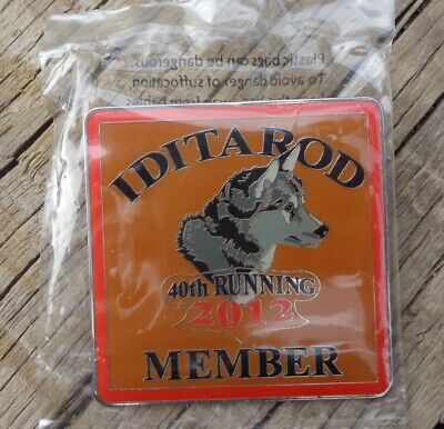 "2"" Square Iditarod Member 40th Running 2012 Malamute Husky Metal Square Pin"