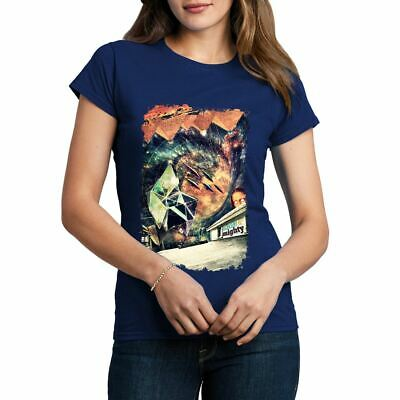 A845B Womens Crew Neck T-Shirt High & Mighty Space Trip Travel Universe UFO Pyra