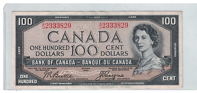 1954 CANADA Devils Face $100 Dollar Note Bettie/Coyne A/J