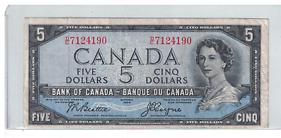 1954 CANADA Devils Face $5 Dollar Note Bettie/Coyne D/C
