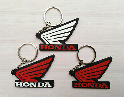 3Pcs HONDA Motorcycle Bird Wing Rubber Keychain Red Black Keyring Gift New S1