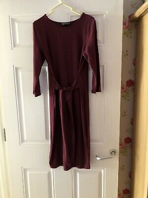 Ladies Mothercare Blooming Marvellous Wine Maternity Stretch  Fitted Dress 10