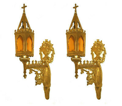 Pair Of Antique Gilded Gothic Revival Sconces