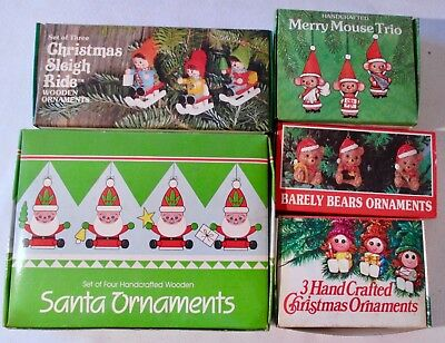 5 Boxes 16 Vintage Wooden Handcrafted Ornaments Taiwan  Mouse Santa Bears Girls