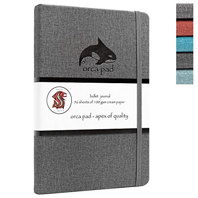 Orca Pad Hardcover Bullet Journal w/ 3 Stencils A5 Dual-Sided Dotted Grid 120 2