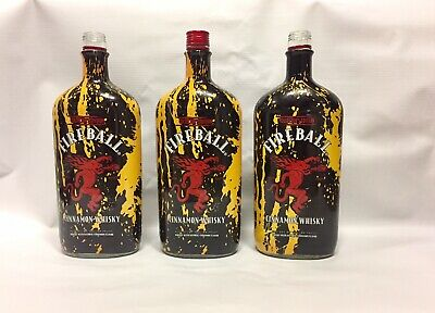 Lot Of 3 FIREBALL Whisky Cinnamon Whiskey Empty Collectors Edition Bottle 750 ML