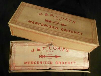 Vintage J.&P. Coats Crochet Thread Sz 20 Box Of 12 Balls 125 Yds Ea,1 Grn Sz30
