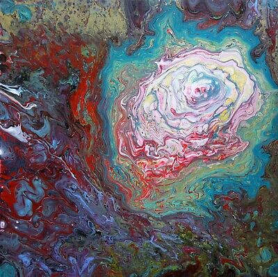 "Colorful Acrylic Pour Painting, 20"" x 20"" Abstract Fluid Art, Pour Art Painting"