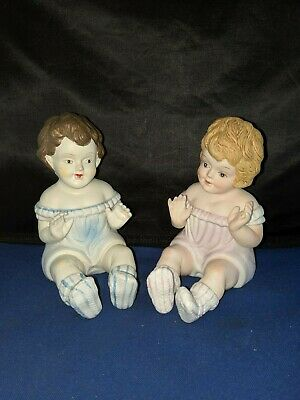 """Piano Baby Doll Figurine Bisque ceramic Girl Pair approx 5.5""""H Vintage"""