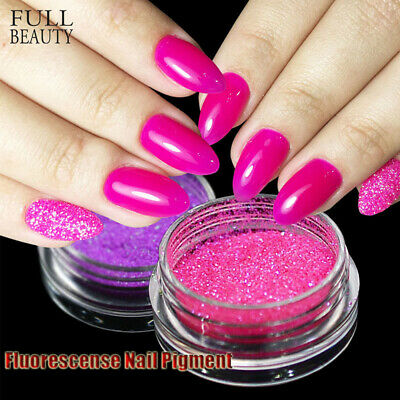 Glitter Dust  3D Holographic Nail Art Decoration Fluorescence Nail Powder Neon
