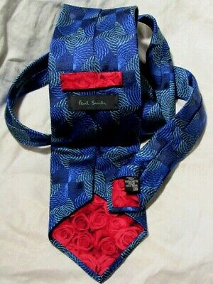 PAUL SMITH  Executive SILK Tie Made ITALY BLUE Green ABSTRACT  Roses VINTAGE