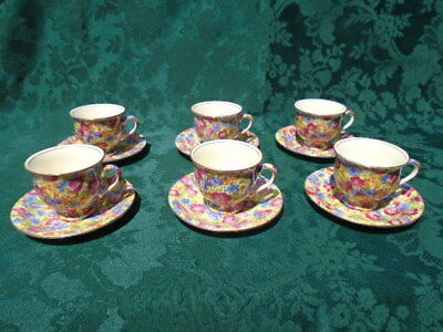 Set of 6 Royal Winton Chintz Royalty Albans Demitasse Coffee Cups and Saucers