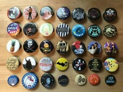 Nice Lot of 35 Small Pins Buttons Mostly Movies Batman Beetlejuice Star Wars +
