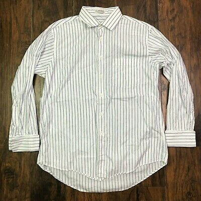 Christian dior long sleeve button up shirt white blue pinstripe size 16 1/2 33