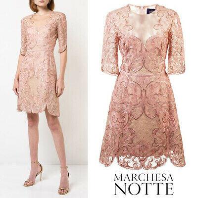 $695 NEW Marchesa Notte Metallic Filigree Nude Dress Blush Pink ROSE GOLD  0 4 8