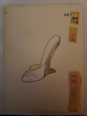 Original Concept Art Frederick's of Hollywood-Advertising-Shoes-White Wood Heel