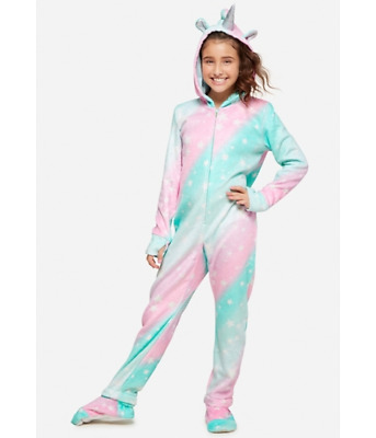 Justice Girl One Piece Fleece Hooded Unicorn Pajama Front Zip Wings Shimmer 8,14