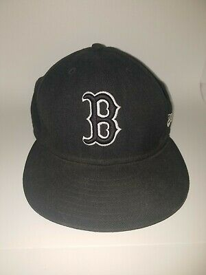 Boston Red Sox Fitted Hat/Cap by New Era 59Fifty Blacked out MLB Logo. Sz 7 3/8