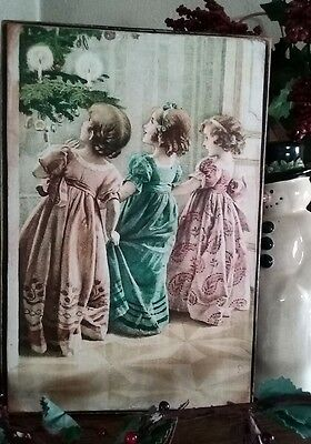 Primitive Christmas Sign A Merry Christmas To You Vintage Postcard Reproduction