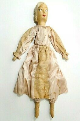 Rare Mid-19Th C American Antique Hand Made Rag Doll, W/painted Face, Silk Dress