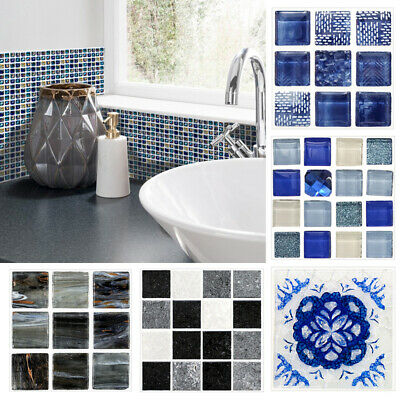 18Pcs Square 3D Mosaic Tile Stickers Waterproof Wall Floor Marble Decor Home NEW