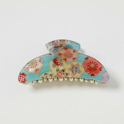 Kimono Clip hair accessory, French Style hair clip floral_blue
