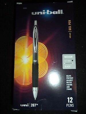 12 Uni-ball Signo 207 Retractable Gel Pens 0.7 M Point  Black INK 33950 SUPER
