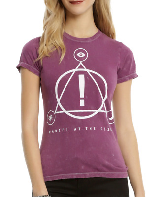 Panic At The Disco SYMBOLS LOGO Pink Wash Girls Women's T-Shirt NEW Official