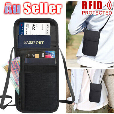 RFID Passport Stash Security Pouch Card Holder Wallet Bag Blocking Travel Neck