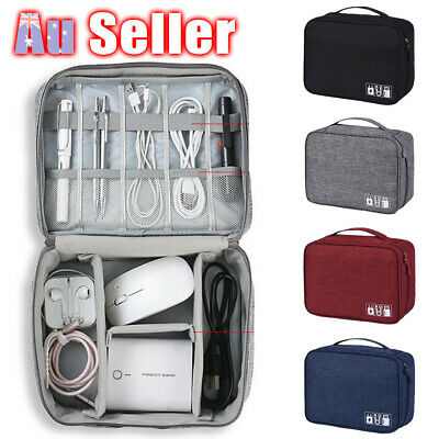 Electronic Accessories USB Travel Case Storage Charger Organizer Bag AU Cable