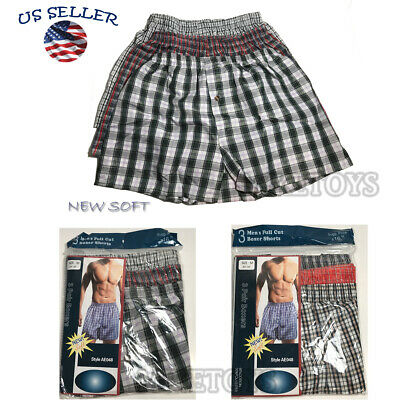 New 3 Mens Boxer Check Plaid Shorts Trunk Underwear Cotton Briefs Size S-2XL NEW