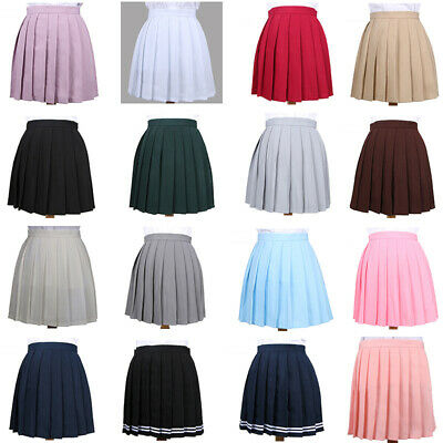Ladies Girls Cheerleader Dance Tennis Party Mini Flared Pleated Skirt School AU