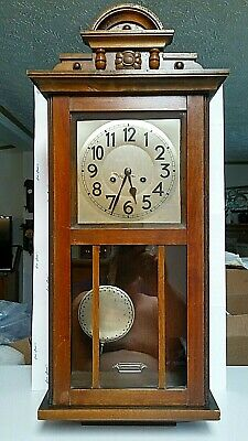 Working Vintage JUNGHANS MOVEMENT Wind Up Pendulum WALL CLOCK w/ CHIMES [2166]
