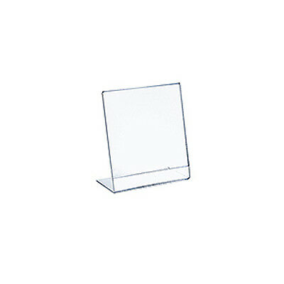 Vertical Slanted, L-Shape Acrylic Sign Holder 5.5W x 8.5H Inches - Lot of 10