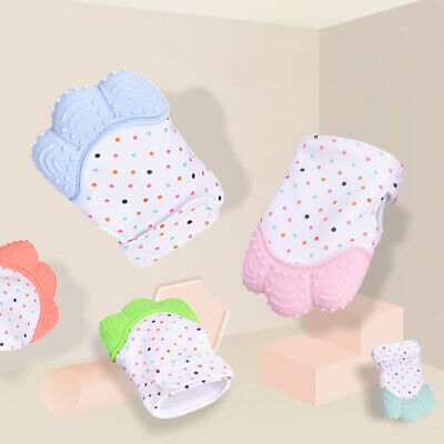 Baby Teether Silicone Mit Teething Mitten Glove Candy Wrapper Sound Toy Gift