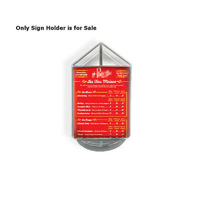 Acrylic Clear 3 Sided Sign Holder 4W x 6H Inches with Black Revolving Base