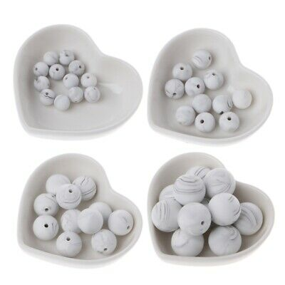 10pcs Silicone Marble White Teething Beads Baby Chewable Beads Diy Teether Toys