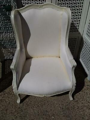 French Style Cream Carved  Wing Back Bergere / Tub Armchair