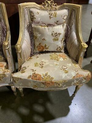 Carved French Gilded Bergere Tub Armchair In Floral Satin With Cushion ..I Of 2