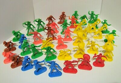 Lot Of 43 Vintage Hong Kong Wild West Cowboys Indians Plastic Toy Figures