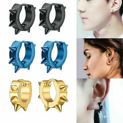 Cool Women Men Punk Earrings Ear Studs Spike Rivet Hoop Huggie Stainless Steel