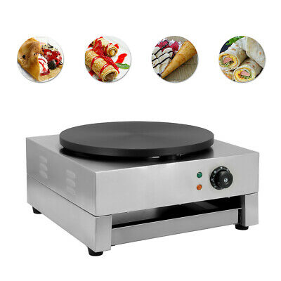 "16""Commercial Electric Crepe Maker Baking Pancake Machine Big Hotplate Non Stick"