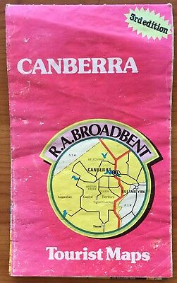 RA Broadbent Canberra Tourist Map 3rd Edition Vintage Rare NSW Road Map