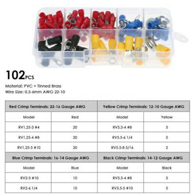 102PCS Electrical Assorted Insulated Wire Cable Terminal Crimp Connector Set Kit
