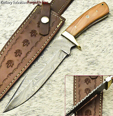 Cutlery Salvation Custom Hand Made Damascus Steel Full Tang Knife | Olive Wood