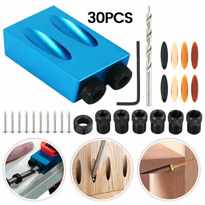 30PCS Pocket Hole Jig Kit 15° Angle 6/8/10mm Adapter Drill Guide Woodworking UK.