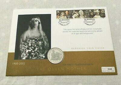 2002 Mercury Coin Cover In Memoriam Queen Mother Isle Man 1 Crown MINT FDC212