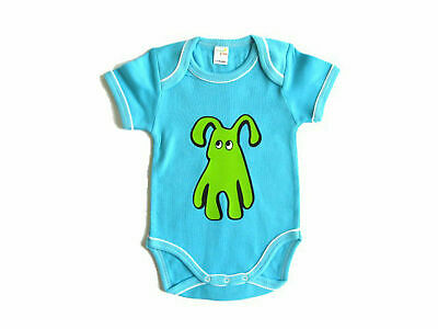 Baby Body Kalle Fux Handmade Hand Printed Turquoise Animal Dog Green Size 68/74